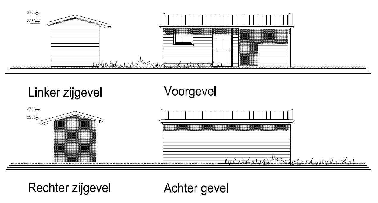 Aanzicht nieuwbouw tuinhuis met veranda te Ursem.