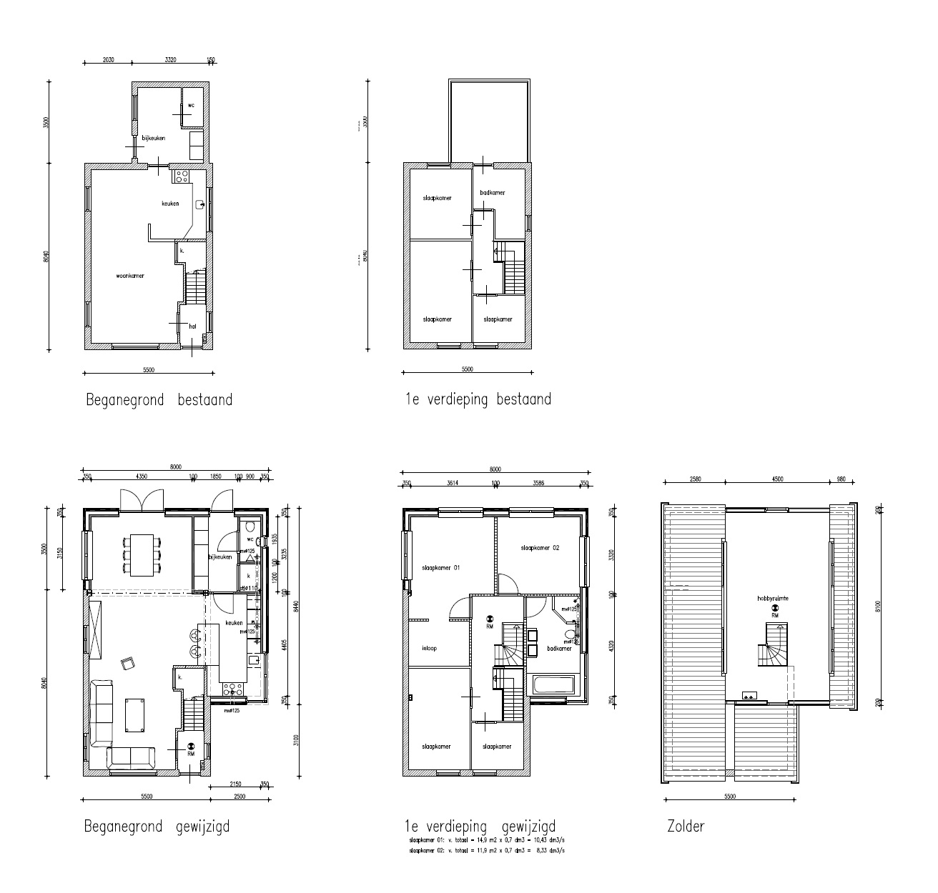 Plattegronden Uitbreiding woning Horstenburgstraat 2 te Obdam