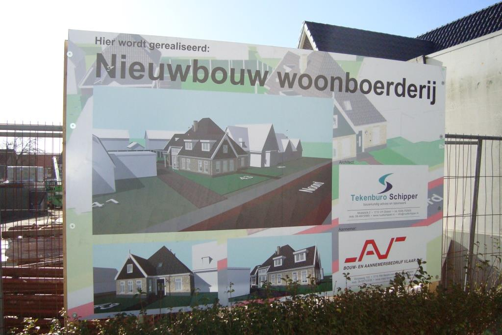 Reclamebord Nieuwbouw woonhuis met garage en carport Noord te SChagen