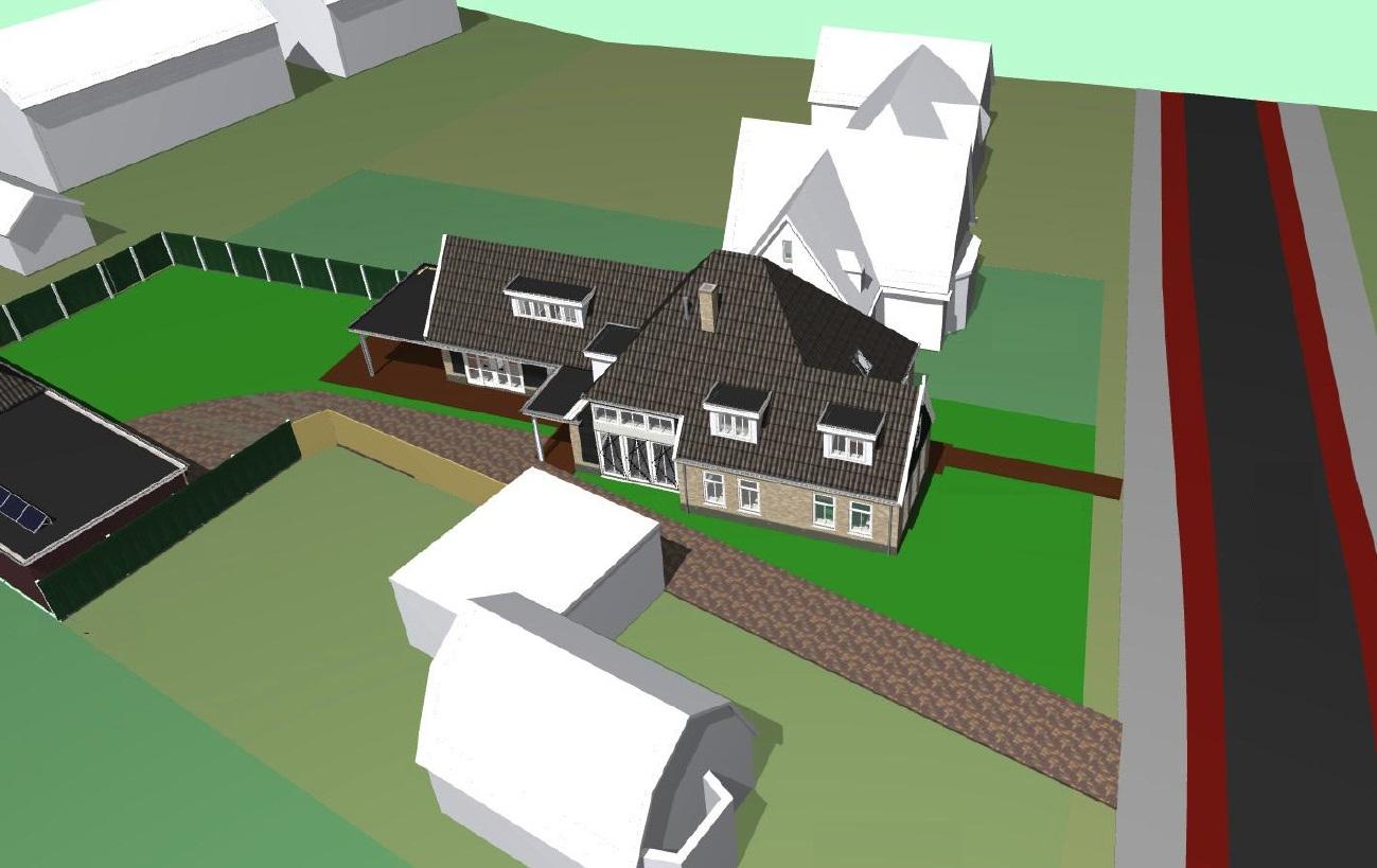 Vogelzicht nieuwbouw/boerderij woonhuis en garage met carport te Schagen