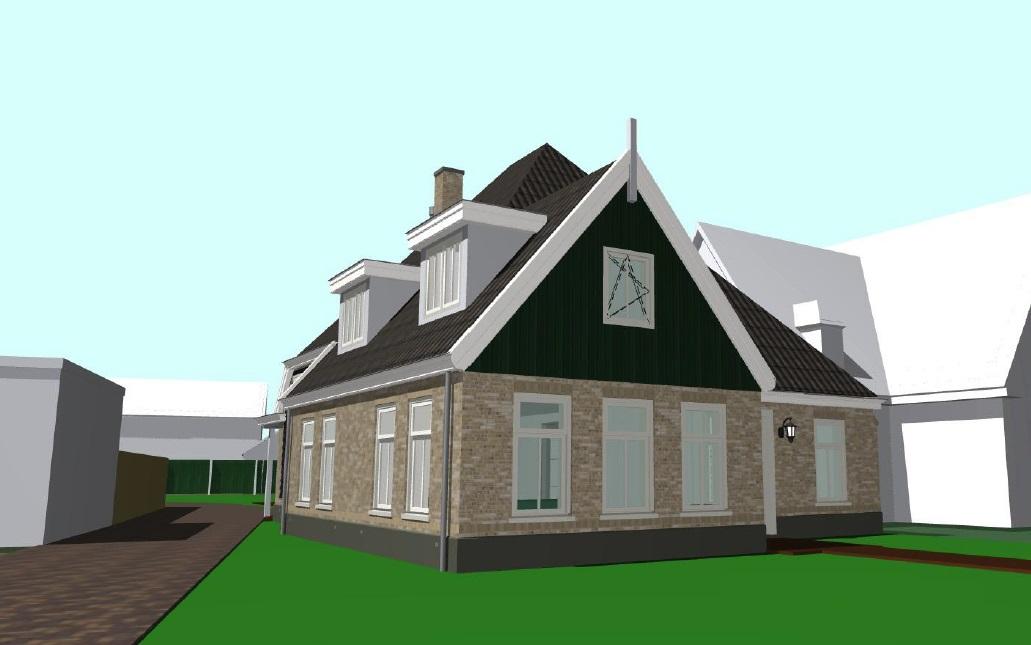 Voorgevel nieuwbouw/boerderij woonhuis te Schagen