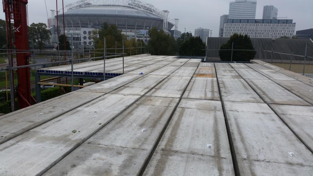 18Nieuwbouw clubgebouw, kanaalplaat verdiepingsvloeren, staalconstructie FC Amsterdam