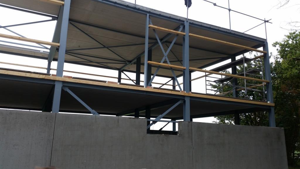 19Nieuwbouw clubgebouw, kanaalplaat verdiepingsvloeren, staalconstructie FC Amsterdam