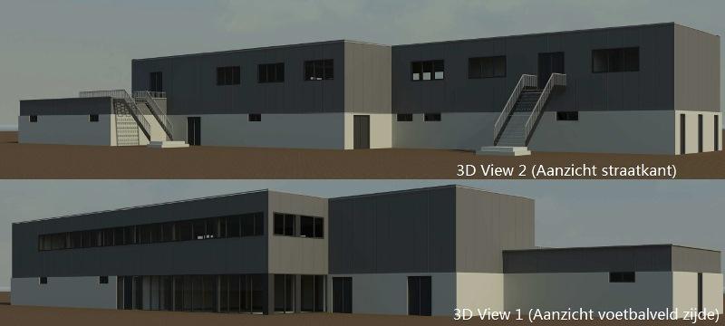 3D Impressie Nieuwbouw clubgebouw FC Amsterdam, Duivendrecht, Voetbal vereniging, De Passage