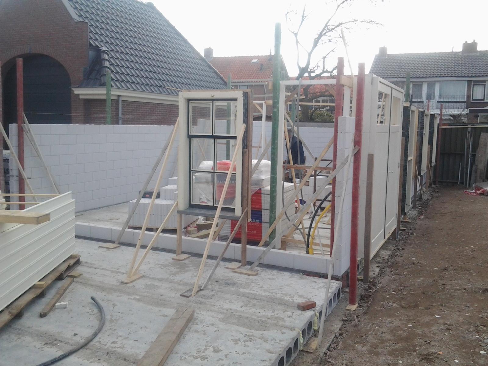 opbouw metselwerk binnenwanden, Noord Schagen nieuwbouw woning-boerderij1
